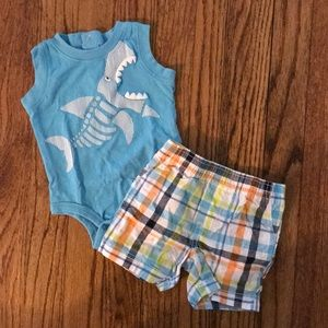 NWOT Koala Baby 0-3 Months Shark Plaid Outfit